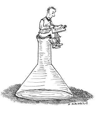Cartoon of student sitting on an Erhlenmyer flask